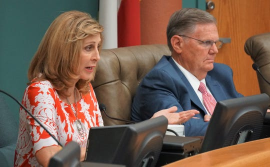 Corpus Christi City Council member Debbie Lindsey-Opel asks questions of city staff during a presentation on July 24, 2018 regarding how the city could diversify its existing water supply.