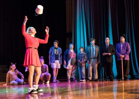 Veruca Salt, played by Carly McCloy, throws a bucket as she sings about the things she wants in the musical adaption of Willy Wonka that will be running July 26th -29th in Chillicothe High School's auditorium.