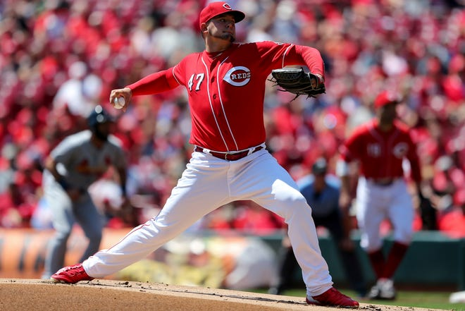 Cincinnati Reds starting pitcher Sal Romano (47) delivers in the first inning during a National League baseball between the St. Louis Cardinals and the Cincinnati Reds, Wednesday, July 25, 2018, at Great American Ball Park in Cincinnati.