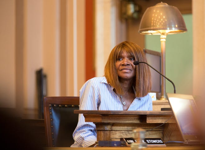 """Patricia Crawford, 64, of Avondale, takes the stand during the re-sentencing of convicted serial killer Anthony Kirkland, 49. Crawford is the grandmother of one of the victims, Casonya """"Sheree"""" Crawford, 14. She was killed in 2006. Hamilton Common Pleas Judge Patrick T. Dinkelacker is the presiding judge."""