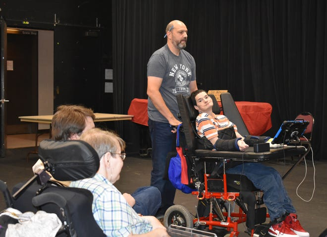 RVCC Theatre Professor Dennis Russo, standing, works with Matheny actor Chester (Chet) Cheesman in rehearsal of Personal Care Assistant during the College's Theatre Production class.