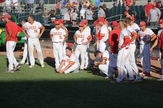 Carlisle players react to losing to Waverly-Shell Rock. Carlisle fell 8-5 to Waverly-Shell Rock in a Class 3A state quarterfinal at Principal Park in Des Moines Tuesday.