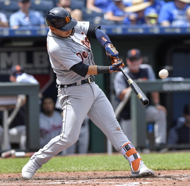Tigers shortstop Jose Iglesias connects on a three-run home run in the fourth inning on Wednesday, July 25, 2018, in Kansas City, Mo.