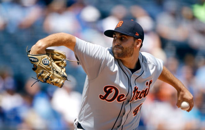 Tigers pitcher Matthew Boyd throws during the first inning on July 25 in Kansas City.