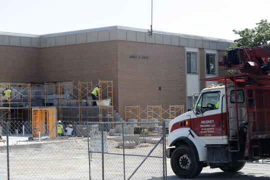 Construction os an office addition at Doty Elementary School this year will improve security at the school's main entrance.