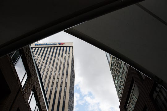 The Bank of America building in downtown Greenville on Wednesday, July 25 2018. Bank of America announced that it will relocate in early 2020 to an office tower at Main and Broad streets.