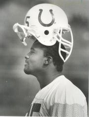 Chris Hinton clowns around with his helmet on backwards at Colts training camp in Sept. of 1988