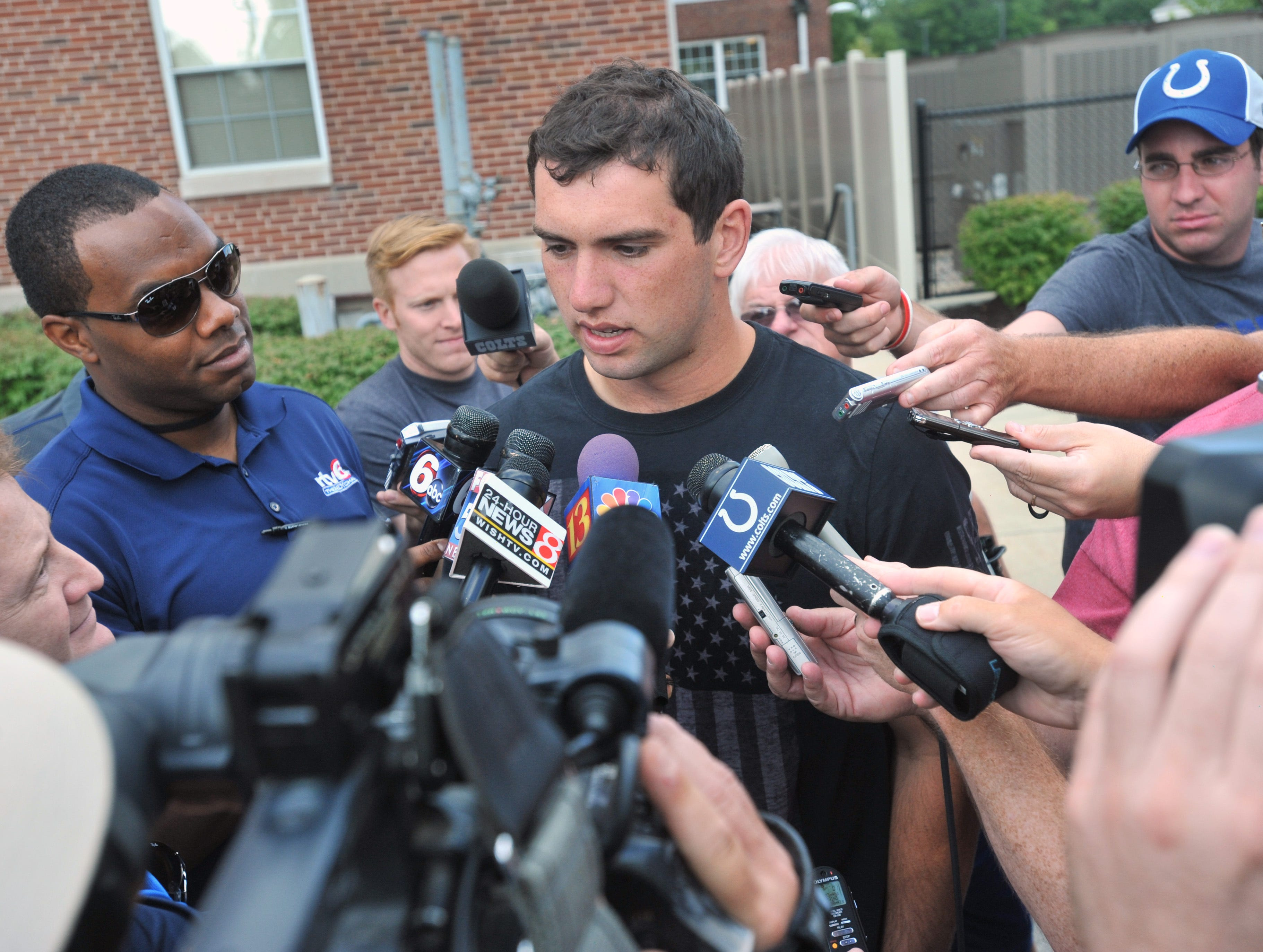No. 1 NFL draft pick quarterback Andrew Luck arrives at the Indianapolis Colts training camp at Anderson University Saturday July 28, 2012.
