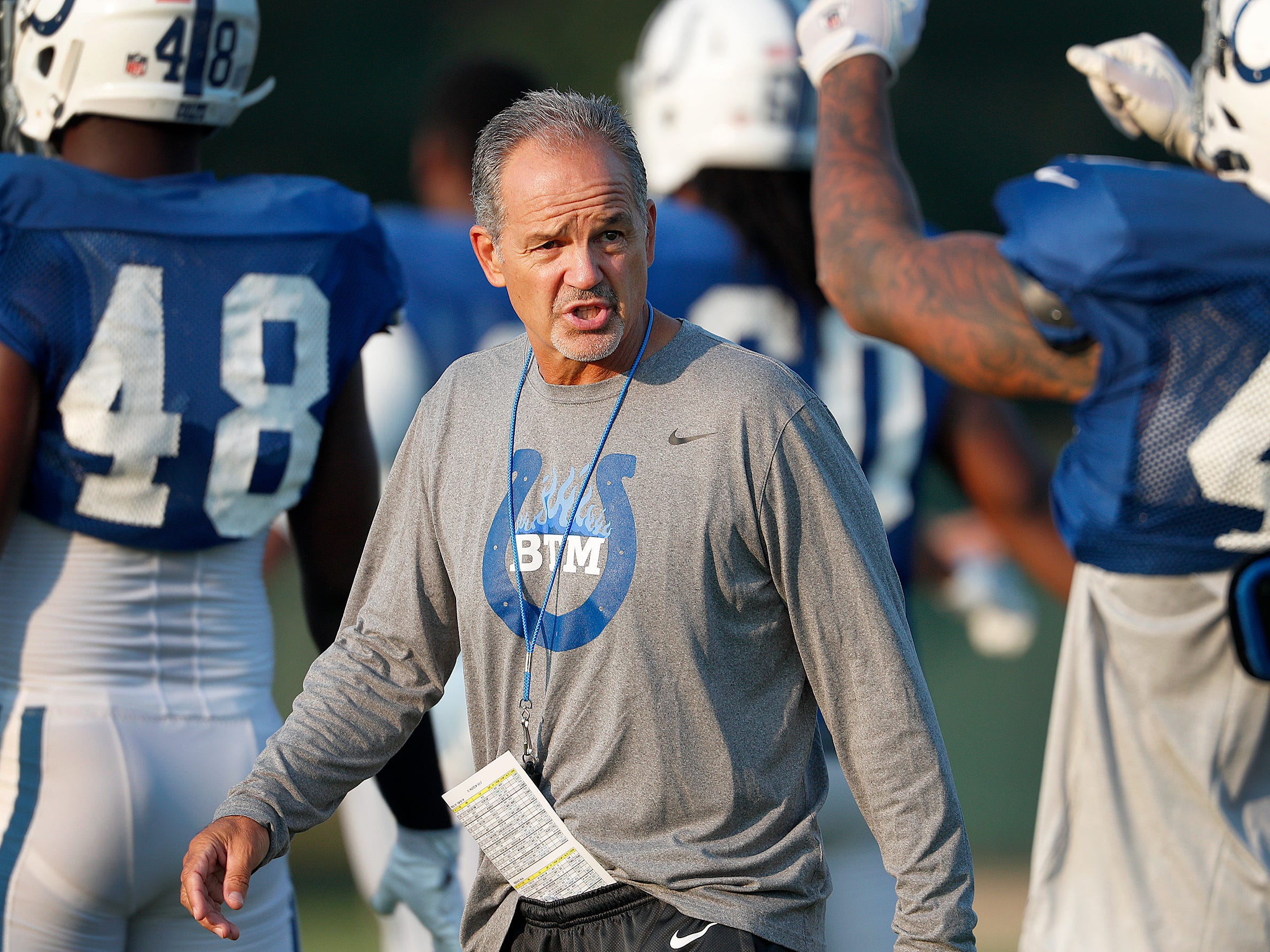Indianapolis Colts head coach Chuck Pagano at their practice during preseason training camp Thursday, August 3, 2017, morning at the Colts complex on West 56th Street.
