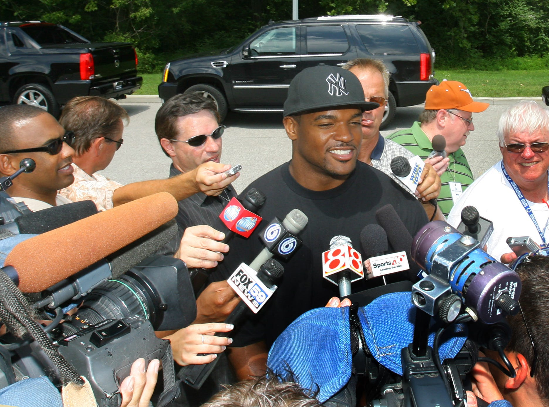 Dwight Freeney faces the media when he arrived. The Indianapolis Colts reported to training camp Sunday 7/29/07 at Rose Hulman Institute of Technology  in Terre Haute.