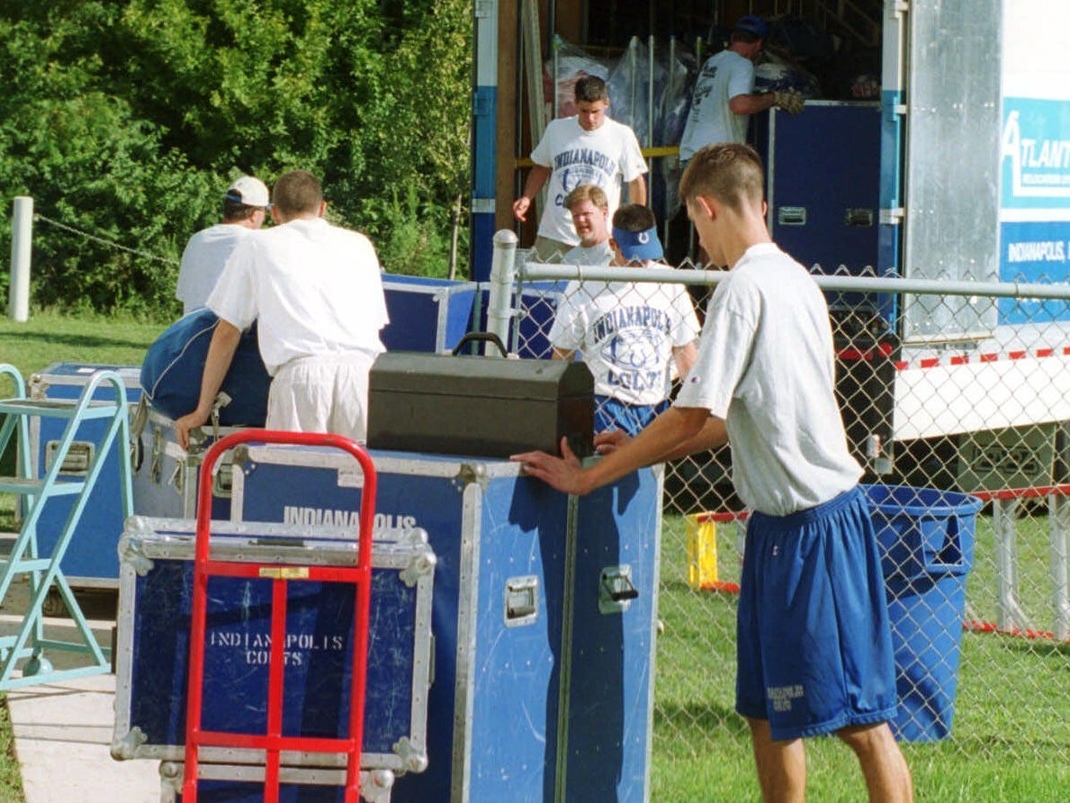 Members of the Indianapolis Colts support staff pack up some of the 200,000 pounds of gear from the Rose-Hulman campus in Terre Haute, Ind., Thursday, Aug. 10, 2000. Thursday marked the last day of training camp for the Colts.