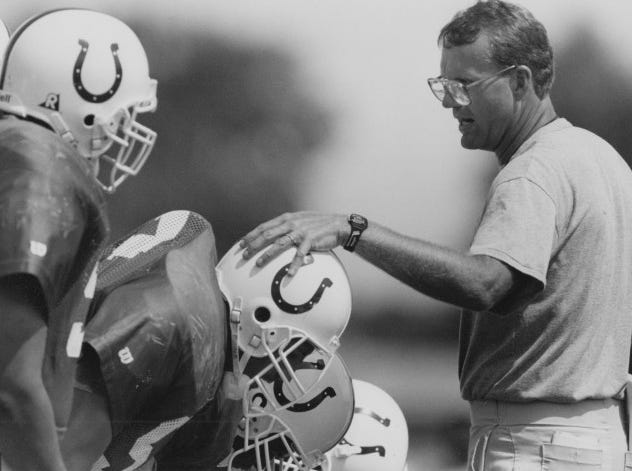 Colts special teams coach Brad Seely offers some instructions to his players during training camp in 1993.