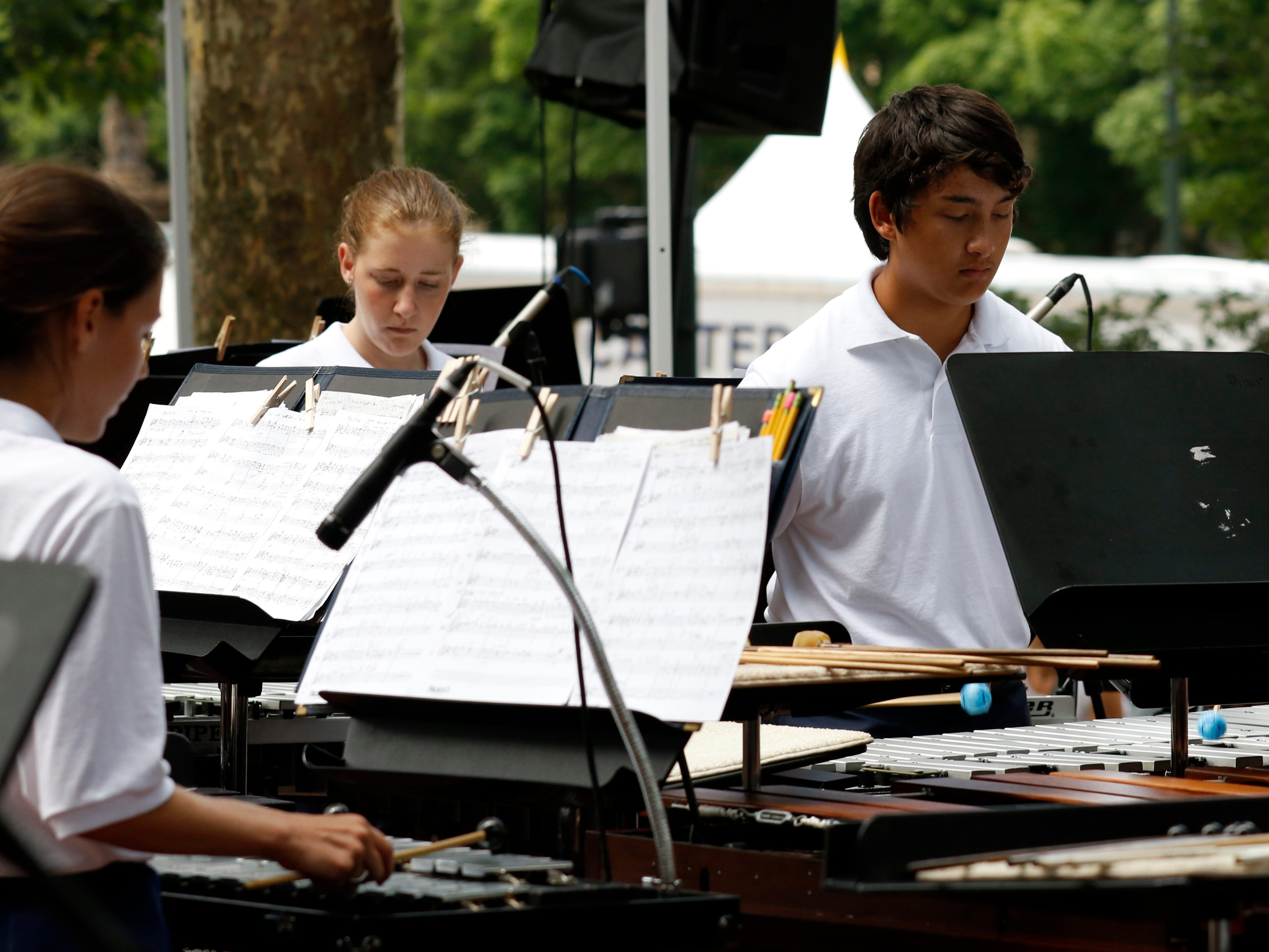 The Lancaster High School Percussion Ensemble performed a midday Lancaster Festival concert Wednesday, July 25, 2018, in downtown Lancaster.