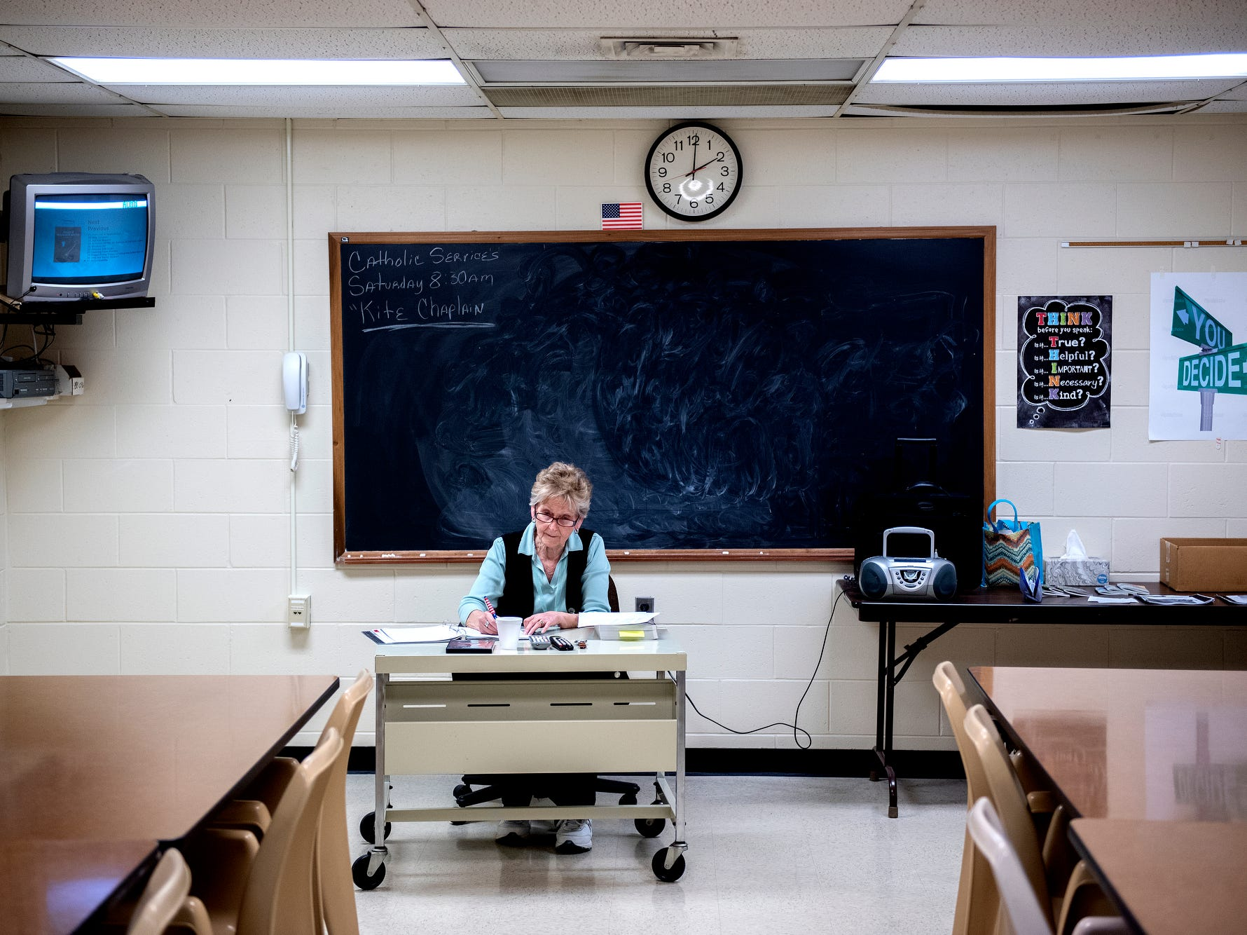 Jail volunteer Carol Ann Wilkinson works in her classroom during a tour of the Ingham County Jail on Tuesday, April 24, 2018, in Mason. A focus on increasing the jail's programs for inmates is included as a bonus to the proposed new jail.