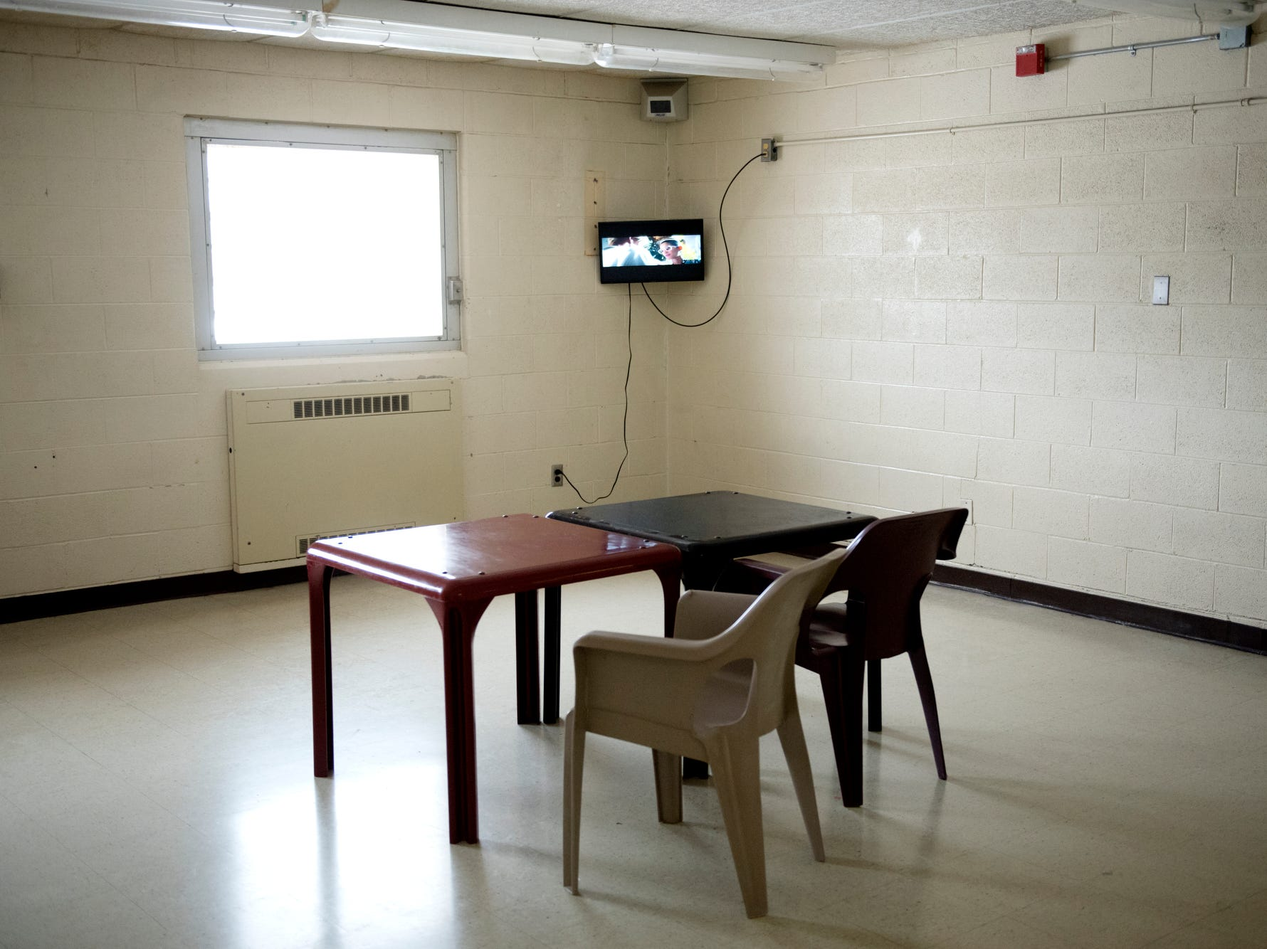 A recreation room photographed during a tour of the Ingham County Jail on Tuesday, April 24, 2018, in Mason.