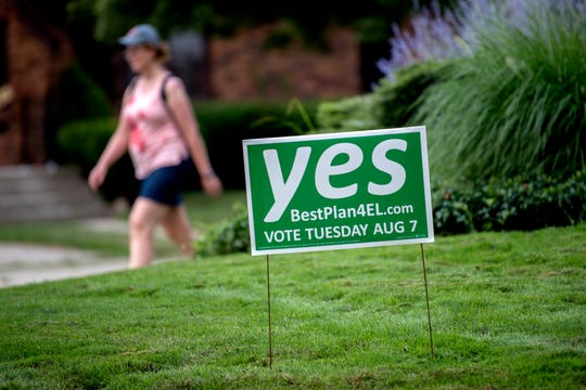 A sing supporting the 12-year income tax proposal that will be on the Aug. 7 ballot is seen in a yard on Wednesday, July 25, 2018, in East Lansing. The tax rate would be 1% for residents and 0.5% of non-residents who work in the city. Approval of the income tax will trigger a 5-mill reduction in property taxes for city residents.