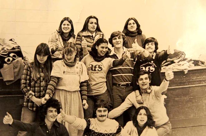 These were AFS foreign exchange students from around the world assigned to Milwaukee area schools in 1978-79. Anne Last of Australia, who is on the far right of the middle row, has arranged a 40-year reunion here this weekend.