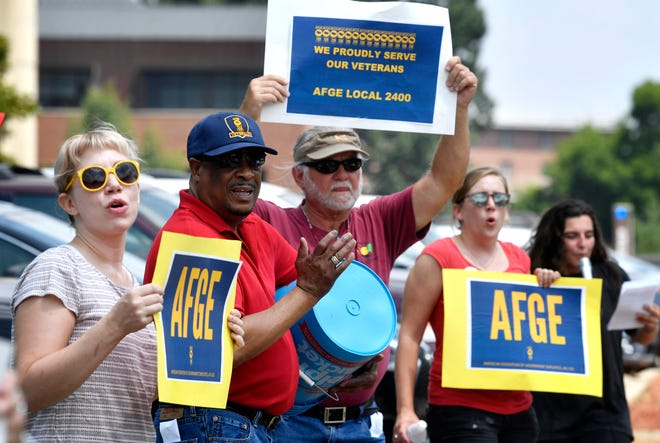 American Federation of Government Employees Union conducted rallies across the nation, including in Nashville VA on Wednesday to protest Trump's administration's move to restrict the amount of time federal employees on the job can spend on union activity. 