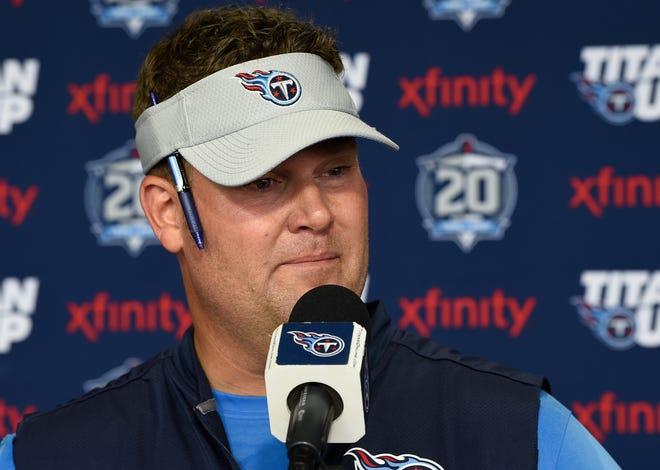 Titans general manager Jon Robinson addresses the media at Saint Thomas Sports Park Wednesday, July 25, 2018, in Nashville, Tenn.