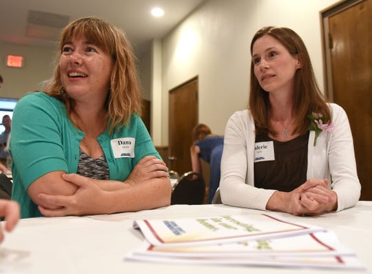 Dana Decker and Valerie Smith of Fostering Further talk about the organizations new award for college students.