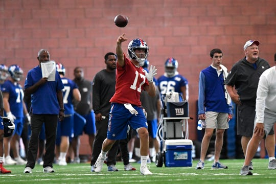 New York Giants quarterback Kyle Lauletta (17) throws the ball during the first day of NFL training camp in East Rutherford, NJ on Wednesday, July 25, 2018.