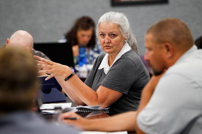 Kathy Lamb, the city of Aztec finance director, talks about a potential increase to the city's gross receipts tax during a work a work session Tuesday at Aztec City Hall.