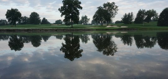 The pond in front of the 16th hole at Oakland Hills Country Club's South Course on July 24, 2018.