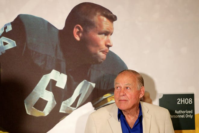 Jerry Kramer is introduced at the opening of an exhibit featuring his Packers career at the Green Bay Packers hall of fame at Lambeau Field on Wednesday, July 25, 2018 in Green Bay, Wis. 