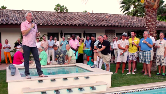 Geoff Kors addresses an audience in his backyard at a political event during his 2015 campaign for City Council