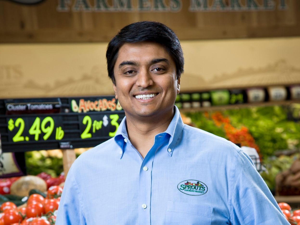 Sprouts Farmers Market Inc.'s Amin Maredia: Summary compensation: $4,519,931. Adjusted compensation: 	$2,205,582. TTM profit: $179 million. TTM revenue: $4.8 billion. 2017 stock: 28.7 percent. Capitalization: $3 billion.
