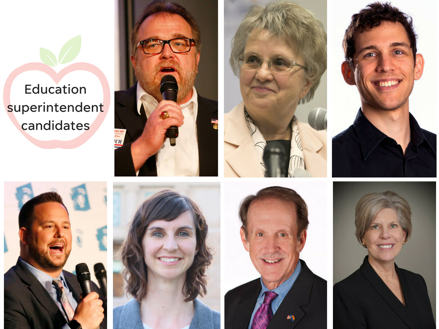 Arizona education superintendent candidates (clockwise from top left) Bob Branch, Diane Douglas, Jonathan Gelbart, Tracy Livingston, Frank Riggs, Kathy Hoffman and David Schapira.