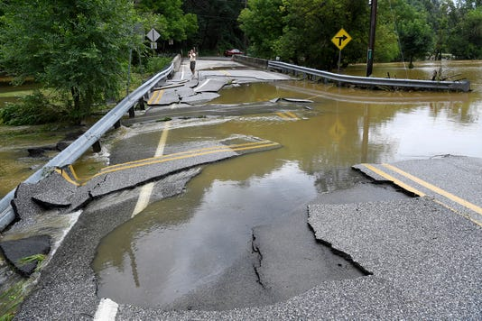 Flood Waters Damage Road In N Codorus