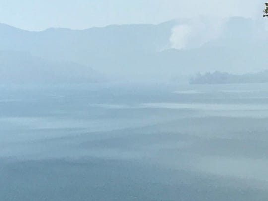Smoke from the Carr Fire blankets Whiskeytown Lake on Wednesday, July 25, 2018.