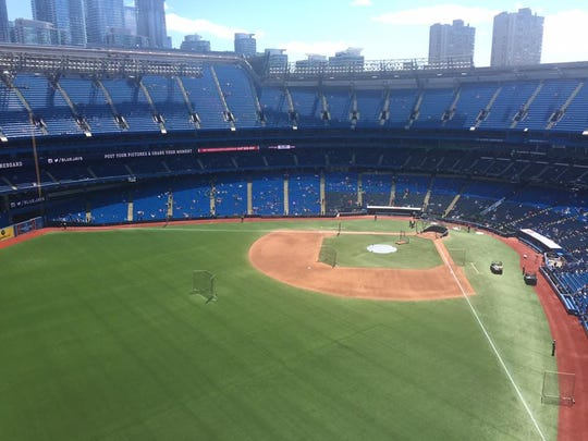 The view from a hotel room inside the Rogers Centre in Toronto, Ontario, Canada.
