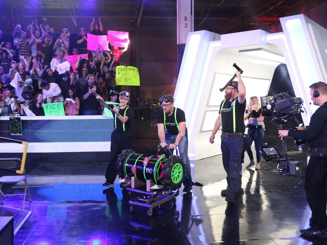 Team Axe Backwards enters the arena for the Battlebots competition.