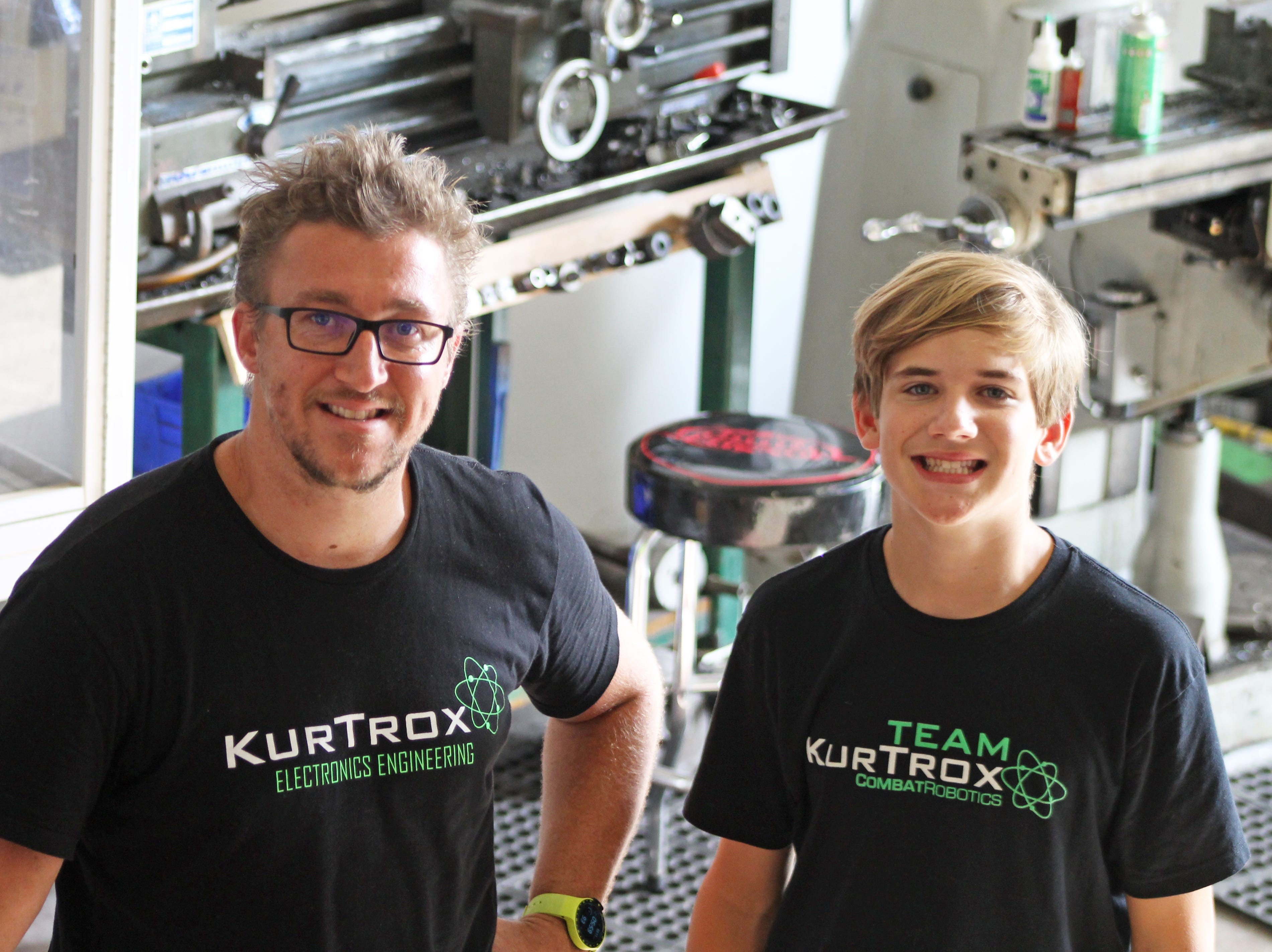 Kurt Durjan and Grant Pitcher at KurTrox Electronics Engineering and Treasure Coast Makerspace.
