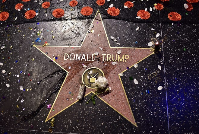 Donald Trump's star on the Hollywood Walk of Fame. The star was vandalized with a pick and police say they have someone in custody.