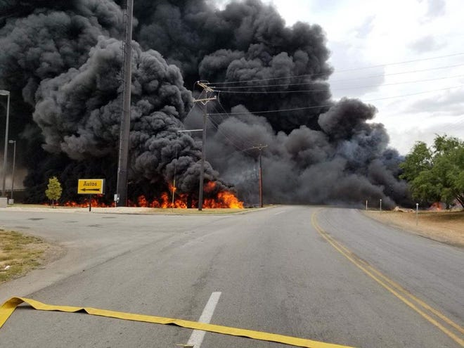 A tanker hauling 7,000 gallons of diesel went off Interstate 20 and caught fire near the Hopkins Road exit on Thursday.