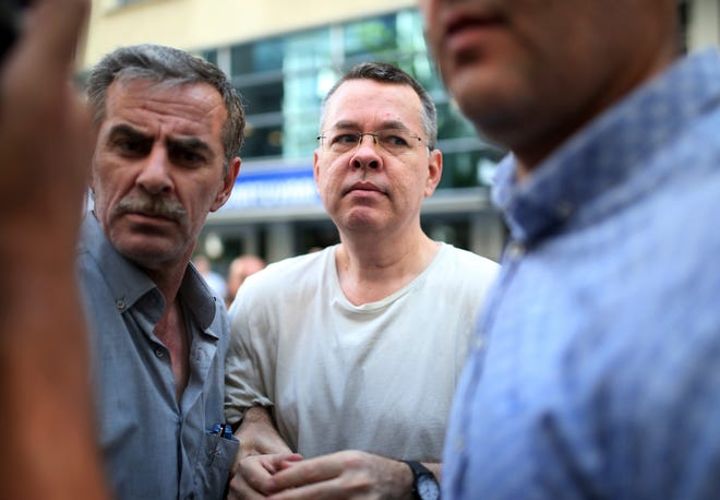 The transfer of Pastor Andrew Brunson, originally from Black Mountain, from prison to his home on house arrest, was reportedly shown live on television in Turkey. He was escorted by Turkish police.
