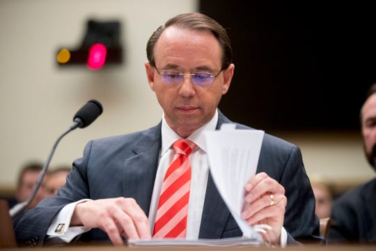 In this June photo, Deputy Attorney General Rod Rosenstein appears before a House Judiciary Committee hearing on Capitol Hill in Washington. A group of 11 House Republicans have introduced articles of impeachment against Rosenstein, who oversees special counsel Robert Mueller's investigation into Russian election interference and President Donald Trump's 2016 campaign.