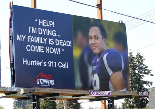 A billboard featuring what Hunter Schaap said to a 911 dispatcher on the night he was killed.