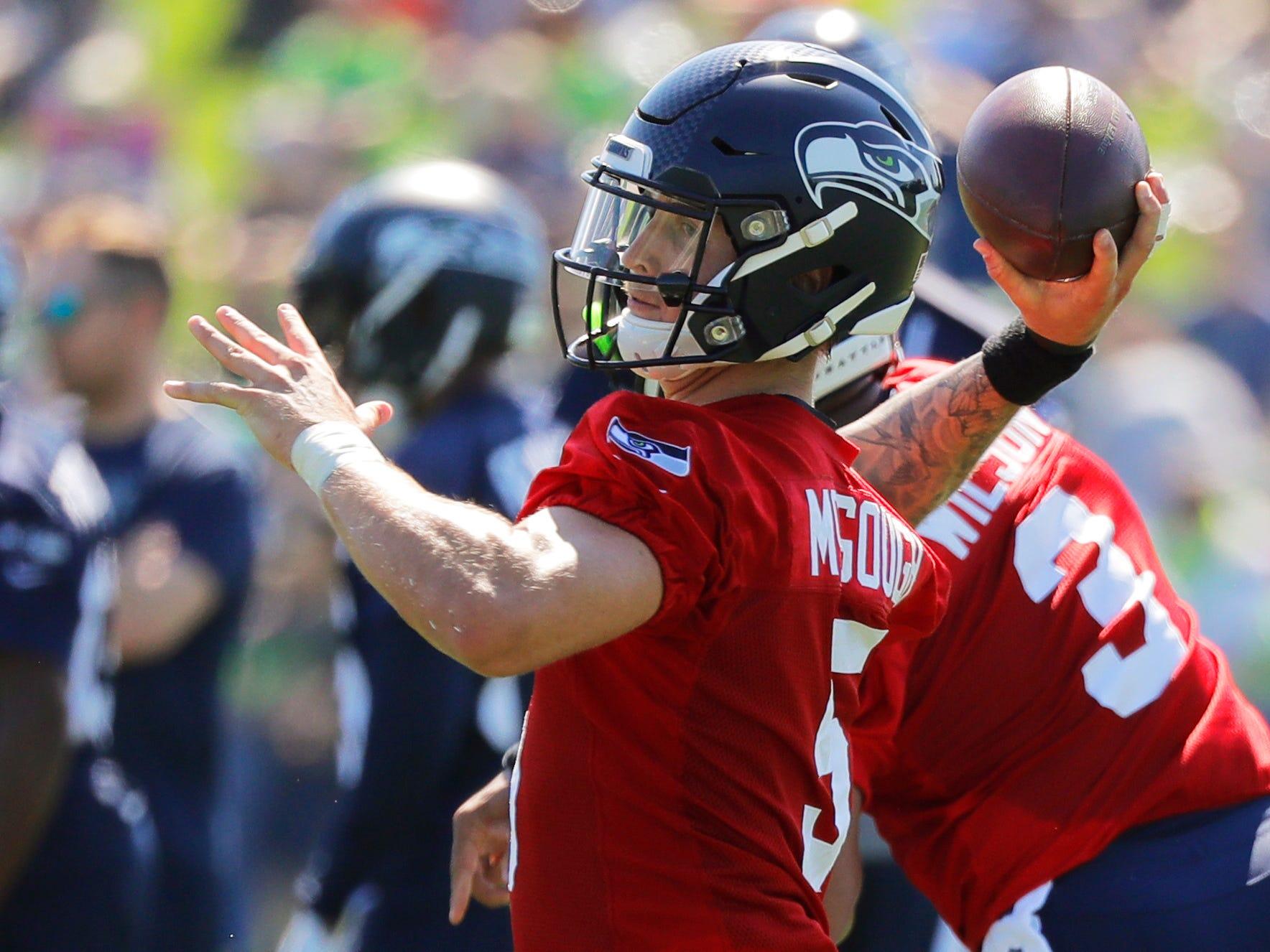 Seattle Seahawks backup quarterback Alex McGough passes during NFL football training camp, Thursday, July 26, 2018, in Renton, Wash. (AP Photo/Ted S. Warren)