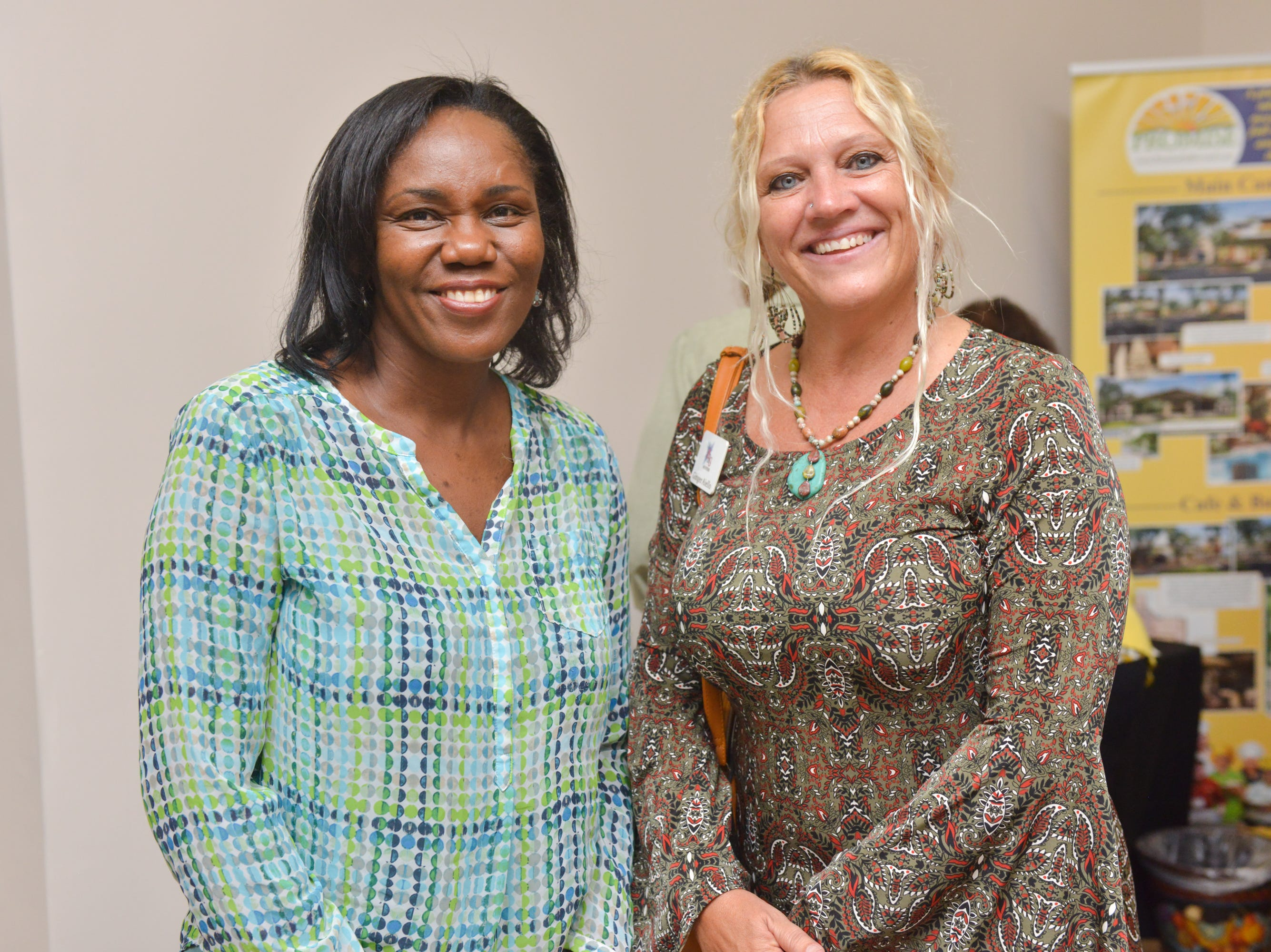 Cheryl Liburd and Ginger Aiello during the Women of Excellence Gathering at Promise in Brevard sponsored by the Melbourne Regional Chamber.