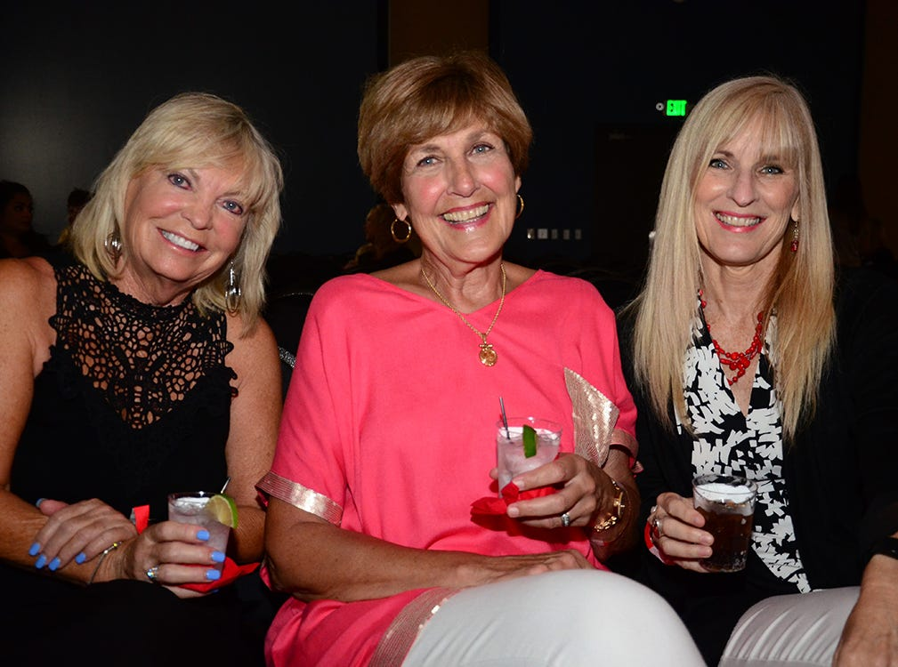 Awaiting the Men on Fire show to start Saturday evening were Anna Doerr,. Joyce Coy, and Cindy Hadaller.