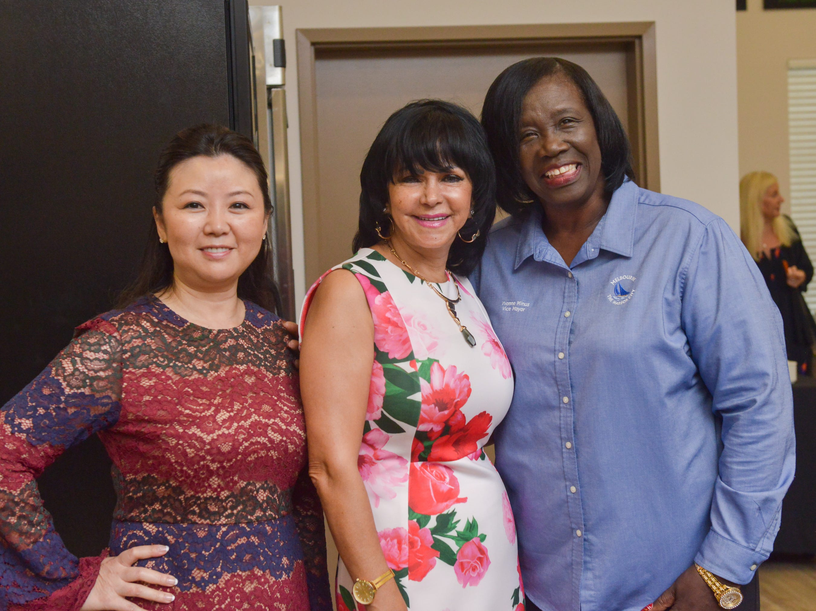 Grace Han, Malak Hammad, Yvonne Minus during the Women of Excellence Gathering at Promise in Brevard sponsored by the Melbourne Regional Chamber.
