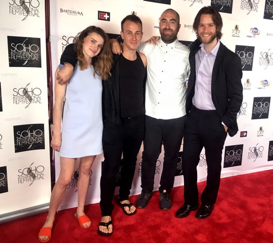 """From left, Art Director Kim Squires, Filmmaker Jeremy Lee MacKenzie, Director of Photography Joel Wolter and Producer and Editor Aron Meinhardt at the 2018 SOHO International Film Festival in New York City where """"Hidden Blueprints: The Story of Mikey"""" was featured as an official selection."""