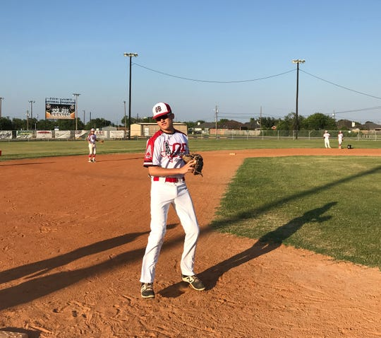 Oil Belt Junior League third baseman Mason Vasquez reacts during an infield drill on Wednesday, July 25, 2018 at Oil Belt Little League park. The Oil Belt Junior League team has qualified for the Southwest Regional Tournament in Albuquerque, N.M.