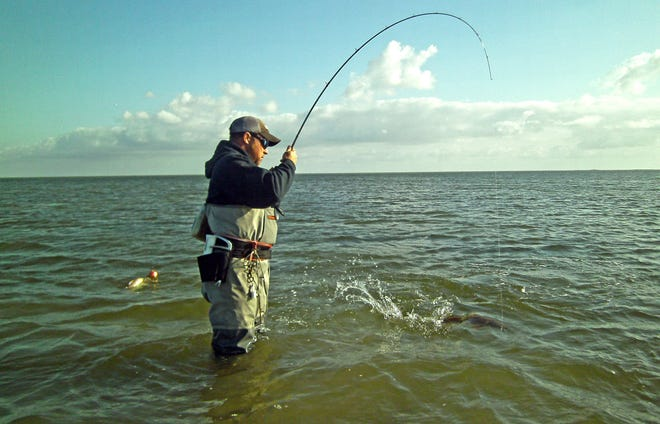 Chest waders will offer some protection against cuts and scrapes that could be infected with waterborne bacteria in Texas coastal waters.