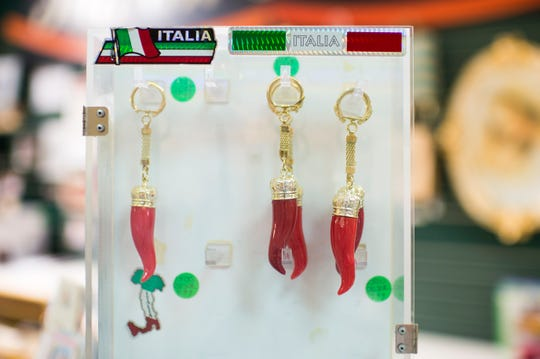 Traditional Italian pepper keychains on display inside the Italian Treasures shop. The store is one of the few remaining shops at the mall at Voorhees Town Center.