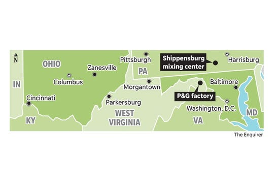 Procter & Gamble's new West Virginia factory is one hour south of its Shippensburg, PA mixing center.